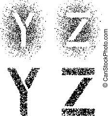 vector, aftekenmal, verpulveren, lettertype, hoekig
