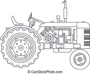 vector, agrícola, vackground., vendimia, aislado, blanco, tractor