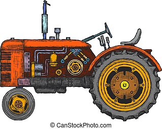 vector, agrícola, vendimia, tractor, mano, dibujado, sketch.