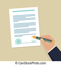 Vector agreement icon - flat illustration - hand signing...