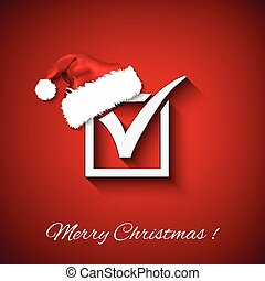 Vector agreement symbols with christmas hat on red background. EPS