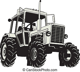 Vector Agricultural Tractor Silhouette Available EPS-8...