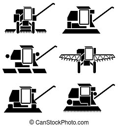 vector agricultural vehicles harvesting combine silhouettes set
