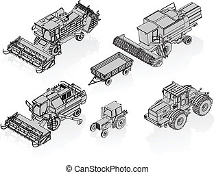 Vector Agricultural Vehicles Isometric Set Available EPS-8 vector format separated by groups for easy edit