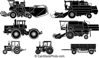Vector Agricultural Vehicles Silhouettes Set Available EPS-8...
