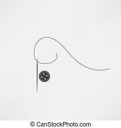 vector, aguja, hilo, icono