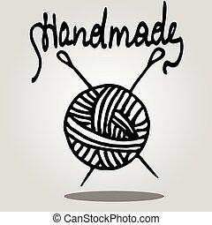 vector, agujas, pelota, tejido de punto, hilo