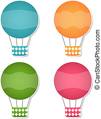 Vector air balloons banners set, EPS10