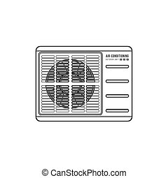vector, aire acondicionado, al aire libre, unidad