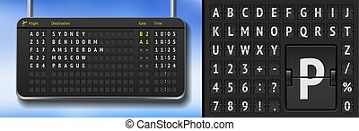 Vector airline departure board isolated. Flip airport board template. 3D airport timetable with arrivals scoreboard font