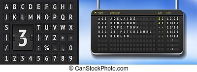 Vector airline departure board isolated. Flip airport board template. Black 3D airport timetable with analog scoreboard font