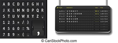 Vector airline departure board isolated. Flip airport board template with black 3D timetable and scoreboard font