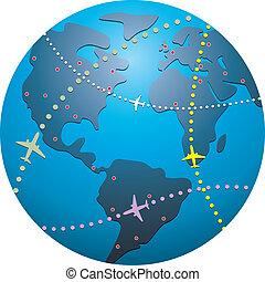 vector airplane flight paths over earth globe