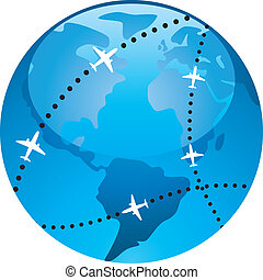 vector airplane flight paths over earth globe