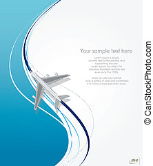 airplane flying on line background - Vector airplane flying...