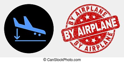 Vector Airplane Landing Icon and Scratched By Airplane Stamp Seal