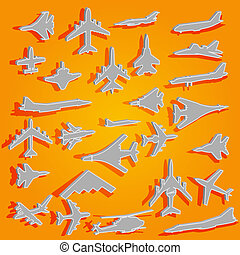 Vector airplane stickers