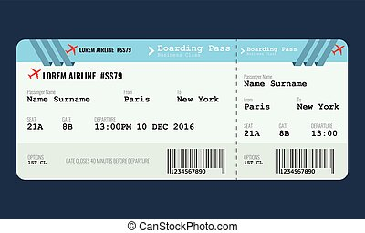 Vector Airplane ticket design template. Mock up for air...