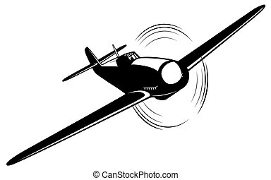 Vector airplane - Vector silhouette of the old fighter...