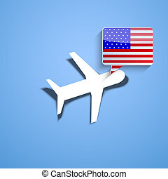 Vector airplane with usa bubble speech background. Eps10