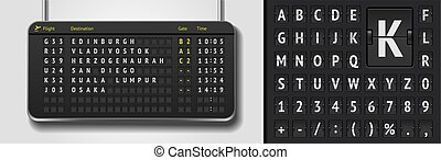 Vector airport board with realistic flip scoreboard font template. Black 3d airport timetable with departure or arrival.