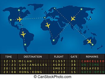 Vector airport departure board with timetable of airliner flights. Business travel and airline transportation concept.