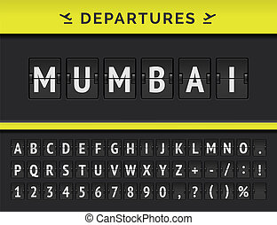 Vector airport flip board showing flight departure destination in India Mumbai