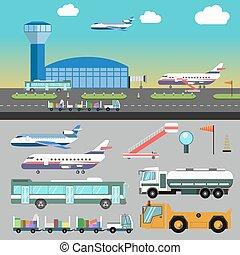 Vector airport illustration with airplane.