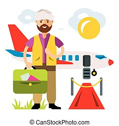 Vector Airport. Landing on the flight. Flat style colorful Cartoon illustration.