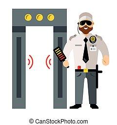 Vector Airport Metal Detector Gate And Security Man Flat