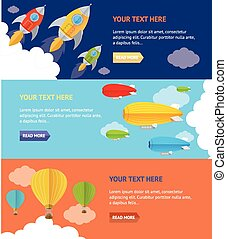 Vector illustration. Parachute, hotair and rocket options Banner, card