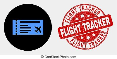 Vector Airticket Icon and Scratched Flight Tracker Stamp Seal