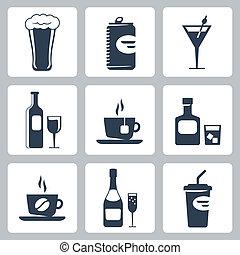 vector, aislado, bebidas, iconos, conjunto