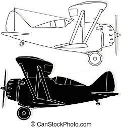 vector, aislado, bi, on., avión, illustration.