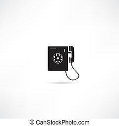 vector, aislado, icono, teléfono