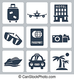 vector, aislado, iconos de viajar, conjunto