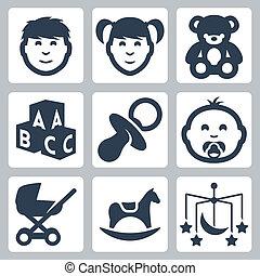 vector, aislado, 'kids', iconos, set:, niño, niña, osito de...