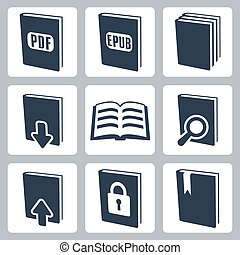 vector, aislado, libros, iconos, conjunto