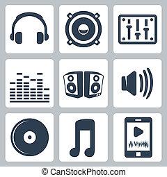 vector, aislado, música, iconos, conjunto