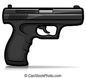 vector, aislado, mano, caricatura, arma de fuego
