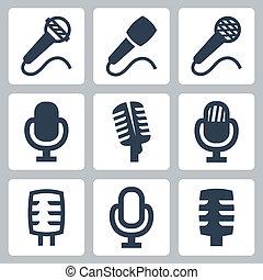 vector, aislado, micrófono, iconos, conjunto
