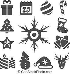 vector, aislado, navidad, iconos, conjunto