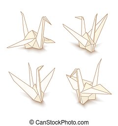 vector, aislado, origami, papel, grúa
