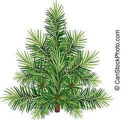 vector, aislado, pino, árbol., verde blanco, navidad