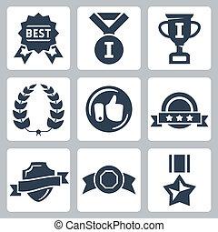 vector, aislado, premios, iconos, conjunto