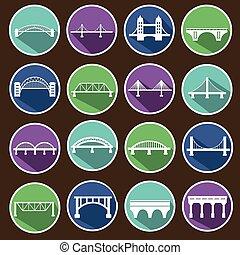 vector, aislado, puentes, iconos, conjunto