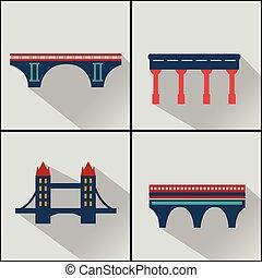 vector, aislado, puentes, iconos, set.
