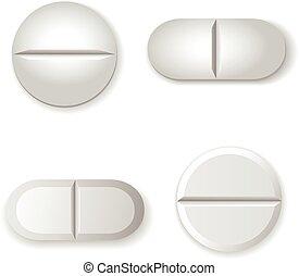 vector, aislado, tabletas, píldoras, conjunto, blanco, fondo...
