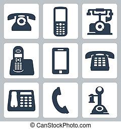 vector, aislado, teléfonos, iconos, conjunto