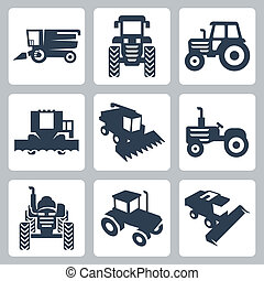 vector, aislado, tractor, y, máquina segador de cosechadora, iconos